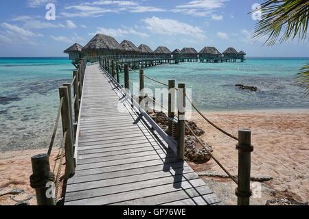 Passerelle en bois pour les bungalows sur pilotis d'un resort sur l'atoll de Tikehau, Tuamotu, Polynésie française, l'océan Pacifique