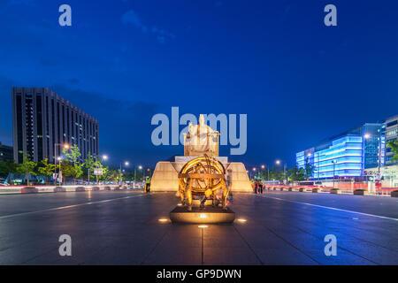 Corée,statue sejong à Séoul city, Corée du Sud. Banque D'Images