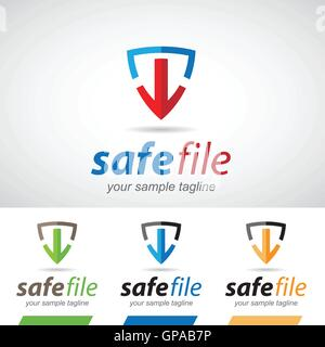 Flèche et Shield-Télécharger le logo Icon Vector Illustration Banque D'Images