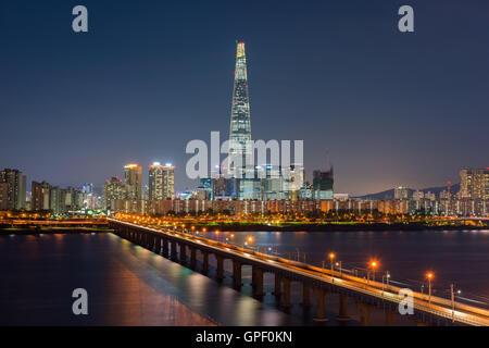 Et métro de Séoul Séoul City Skyline, Corée du Sud Banque D'Images