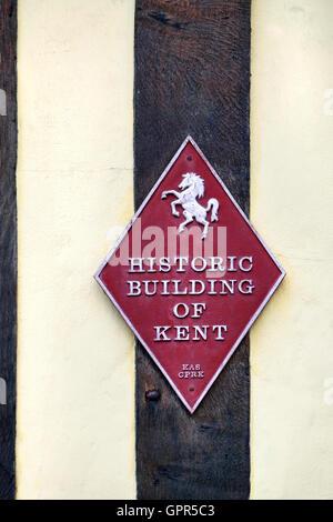 Canterbury, Kent, UK. Bâtiment historique de Kent (sur la plaque) Maison conquête Banque D'Images