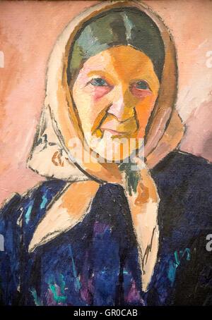 """""""Vieille Femme"""" 1909 huile sur toile de jean Helberg 1884-1976, Kode 3 art gallery Bergen, Norvège Banque D'Images"""