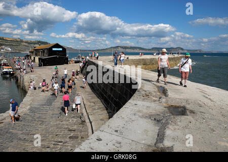 Les gens qui marchent sur le Cobb sur une journée ensoleillée à Lyme Regis, dans le Dorset, Angleterre Royaume-uni Banque D'Images