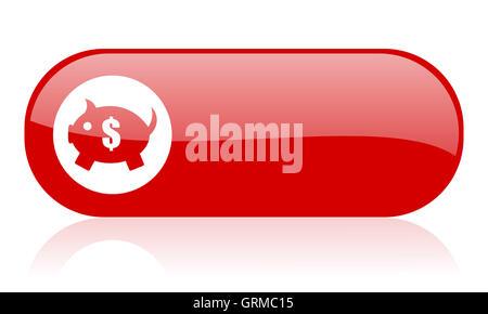 Tirelire web icône rouge brillant Banque D'Images