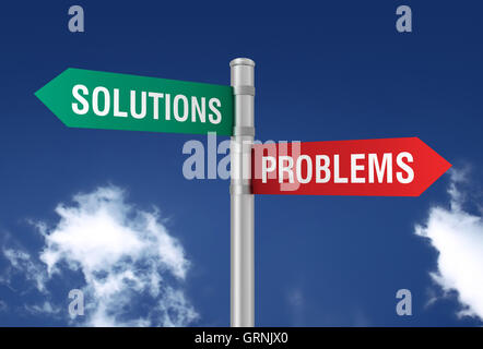Les solutions des problèmes road sign Banque D'Images
