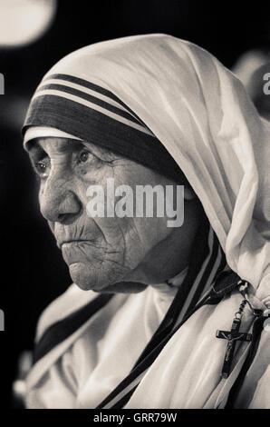 Portrait de Mère Teresa, Saint Teresa de Calcutta Banque D'Images