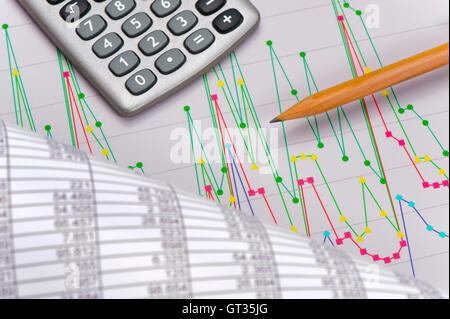 Graphique montre à succès bourse Banque D'Images