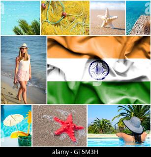 Conceptual collage de grandes vacances en Inde Banque D'Images