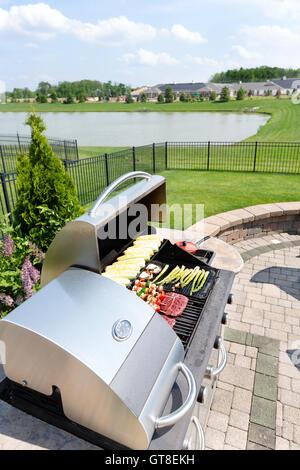 Prêt à la cuisson d'aliments disposés sur une piscine barbecue à gaz dans une cuisine d'été sur une terrasse extérieure Banque D'Images