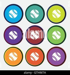 L'icône de balle de tennis signe. 9 boutons ronds multicolores. Vector Banque D'Images