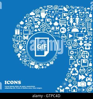 L'icône de fichier GIF . Bel ensemble de belles icônes spirale torsadée dans le centre d'une grande icône. Vector Banque D'Images