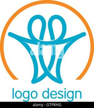 Logo de l'union de personnes lineart. L'homme abstrait logotype. Logo Vector design. Banque D'Images