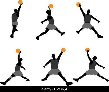 Vecteur EPS 10 illustration de basket-ball Player silhouette Banque D'Images