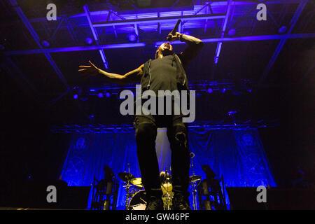 Jacoby Shaddix de Papa Roach à Abbotsford Center le 9 septembre 2016 Banque D'Images