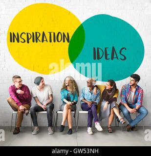 Motivation Idées Inspiration Concept cercles Banque D'Images