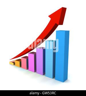 Rising business graph concept 3d illustration Banque D'Images