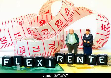 Senior Citizen's paire et Flexi course pension, Seniorenpaar Flexi-Rente und Schriftzug