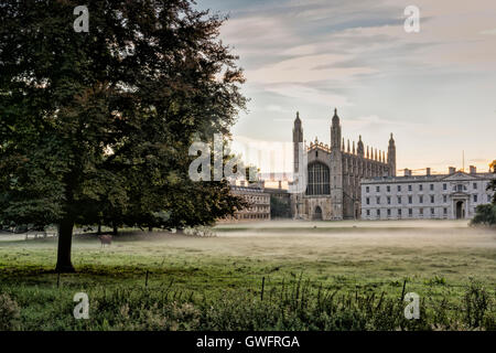 King's College, Cambridge, UK, 13 septembre 2016. La brume flotte dans l'air et de l'ensemble des pelouses de la Banque D'Images