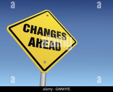 Changements à venir road sign 3d illustration Banque D'Images