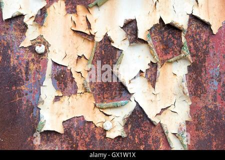 L'écaillage de la peinture de rouille et de rivets de texture. Vieille porte de garage en métal Banque D'Images