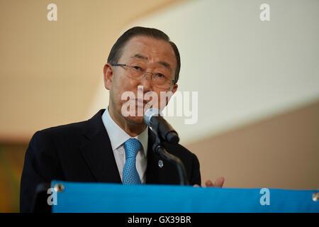 New York, États-Unis. 14Th Sep 2016. Nous: le Secrétaire général des Nations Unies Ban Ki-moon à l'ouverture officielle Banque D'Images