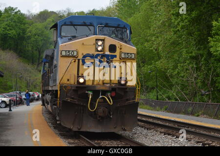 La CSX Locomotice # 150 à Harpers Ferry, Comté de Jefferson, West Virginia, WV, États-Unis Banque D'Images