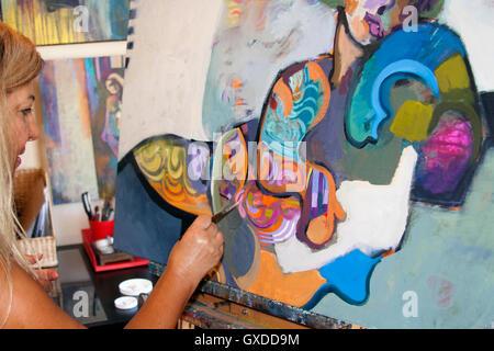 Peinture sur toile d'art de l'artiste Banque D'Images