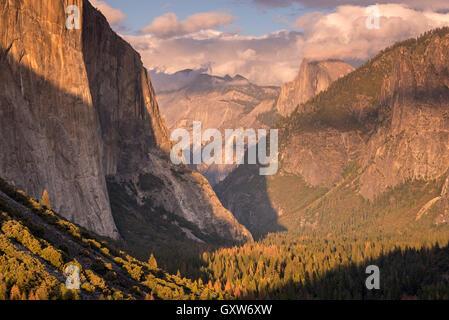 La vallée Yosemite, avec la lumière du soir le bain sur El Capitan et Half Dome, Yosemite National Park, California, USA. L'automne