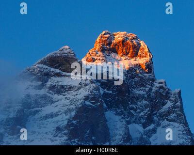 Mont Cervin (Matterhorn) vue de Cervinia , Italie, Cervinia Banque D'Images