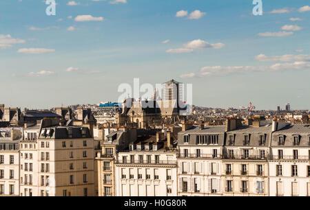 Le panorama de Paris depuis la terrasse.Vue d'Instsitut du monde arabe. Banque D'Images