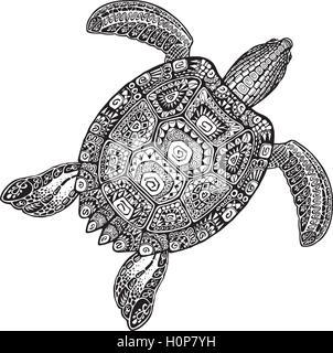 Tortue Dans L Eau De Mer Dans Un Style Tribal Tattoo Design Pour