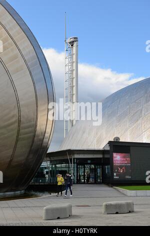 Centre des sciences, Imax et tour de Glasgow à Pacific Quay, Glasgow, Écosse, Royaume-Uni Banque D'Images