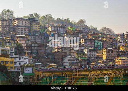 Avis de Gangtok La Capitale du Sikkim, Inde. Banque D'Images