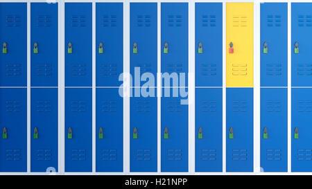 Casier jaune entre les rangées de casiers bleus, 3D Rendering Banque D'Images