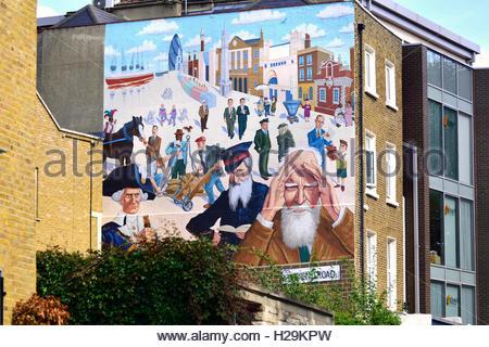 Londres, Angleterre, Royaume-Uni. Barratt Mychael's Mile End-Mural (2011), Mile End Road, commandé par le propriétaires Banque D'Images