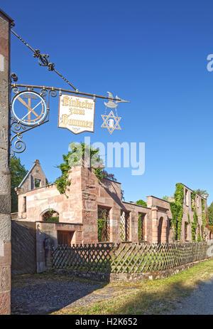 Panneaux avec l'inscription la contemplation de chien à l'auberge, hôtel particulier de ruine derrière l'usine historique, Banque D'Images