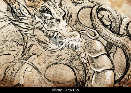 T te de dragon tattoo japonais croquis dessin la main sur papier vintage banque d 39 images - Dragon japonais dessin ...