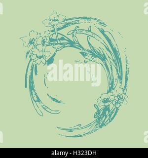 Dessin A La Main Vintage Vague Cercle Avec Motif Isole Fleurs Floral