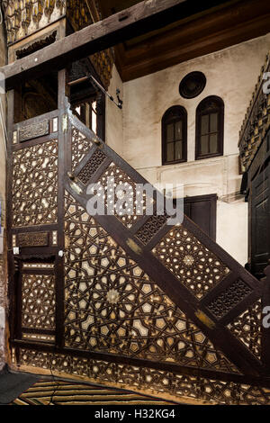 Détail de minbar, Fayoum, Egypte, Mosquée d'Asalbay (1498-9)
