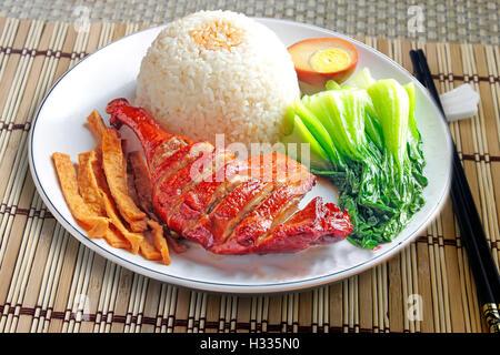 Style Chinois de canard rôti, servi avec du riz vapeur