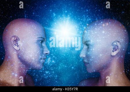 Têtes humanoïde mâle et femelle, androids, avenir de l'humanité et la télépathie concept Banque D'Images