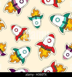 Hand drawn seamless pattern avec rocket space ship patch icônes, d'un insigne ou un autocollant caricature l'arrière Banque D'Images
