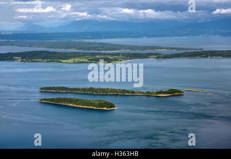 USA; Washington; îles San Juan; Orcas Island; voir à l'est de la montagne de Constitution à l'égard des îles Banque D'Images