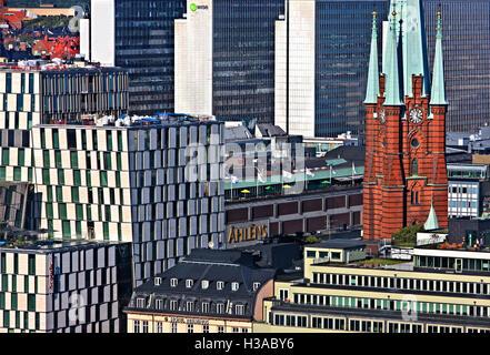 """""""Mosaïque"""" de l'architecture dans Norrmalm, Stockholm, Suède.vue depuis la tour de l'Hôtel de Ville. Banque D'Images"""