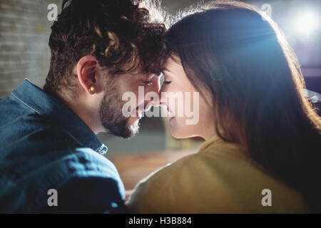 Close-up of romantic couple at cafe Banque D'Images