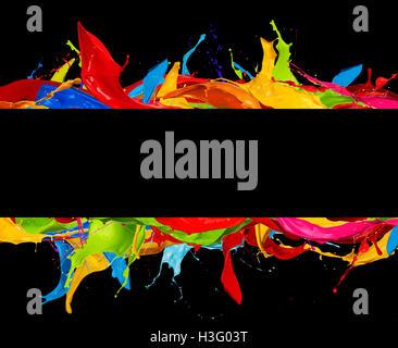 Les éclaboussures de couleurs abstraites isolé sur noir rayures Banque D'Images