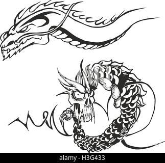 Dragons Pour Tatouage Vector Set Banque D Images Photo Stock