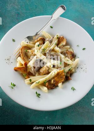 Wiild chanterelle ou girolle, Pied de mouton de champignons ou de hérisson, Pied bleu pied bleu ou musrooms avec Banque D'Images