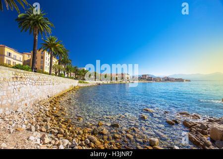 Le vieux centre-ville d'Ajaccio ville côtière avec des palmiers et de vieilles maisons typiques, Corse, France, Banque D'Images