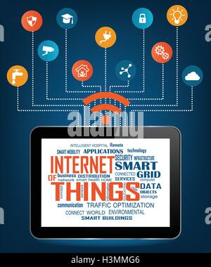 Tablet PC moderne avec Nuage de mots pertinents illustrant l'Internet des objets avec différents éléments de l'icône Banque D'Images